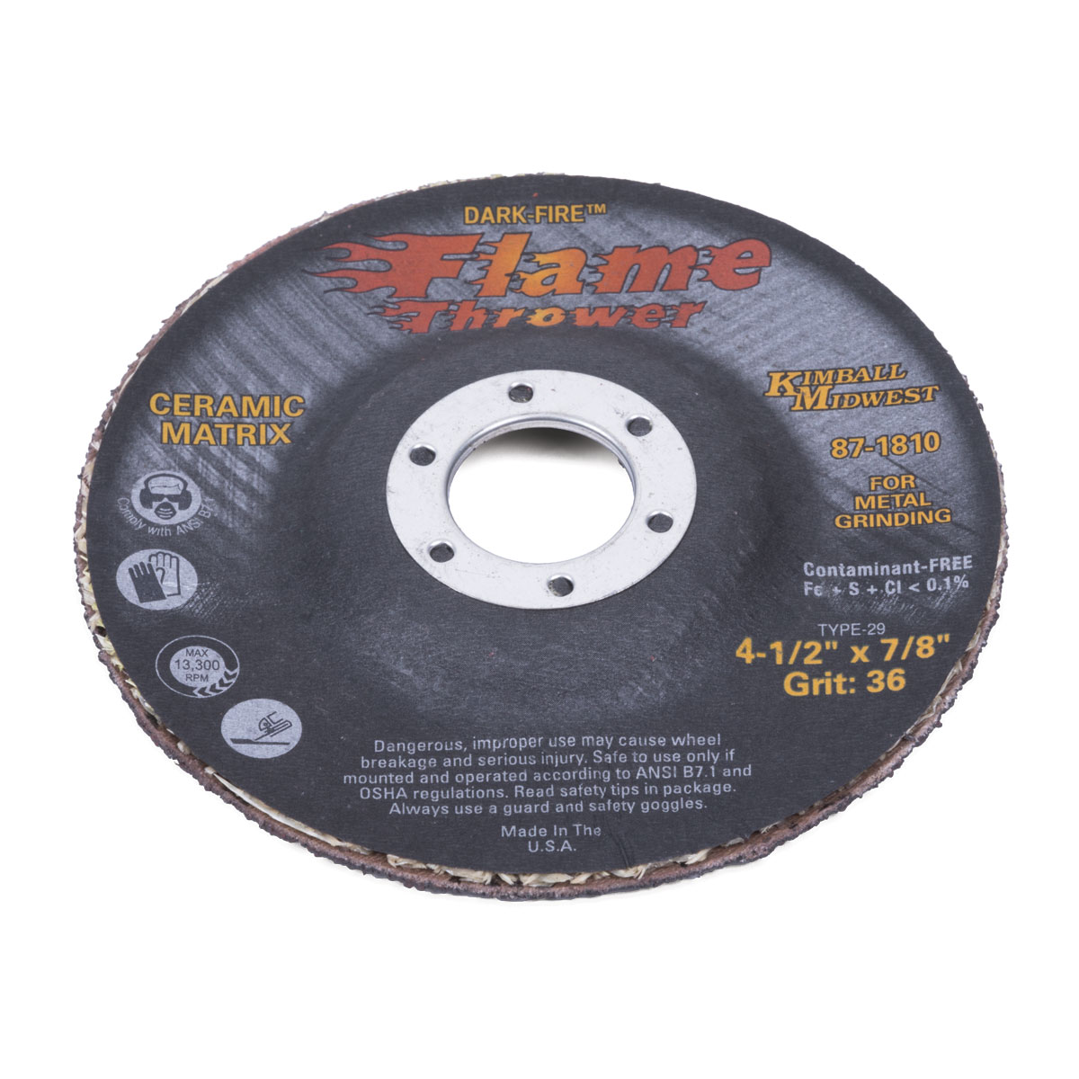 4-1/2 x 1/8 x 7/8 Dark-Fire™ Flamethrower Grinding Wheel - Kimball ...