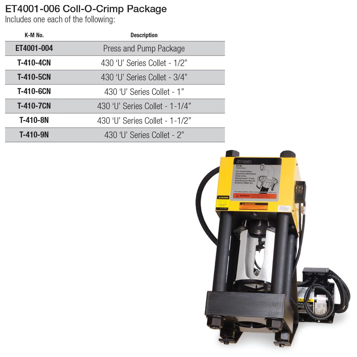 ET-4001 Coll-O-Crimp Stationary Crimper & Tooling Package